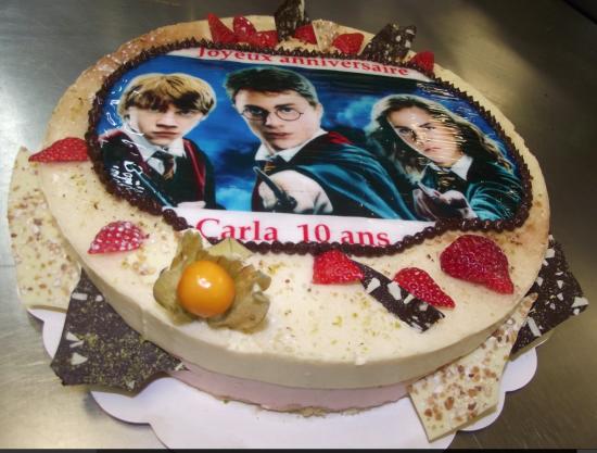 bavarois choco blanc-fraise 10-12 parts avec photo Harry Potter