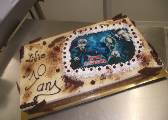 bavarois choco-poire 20-24 parts avec photo Harry Potter
