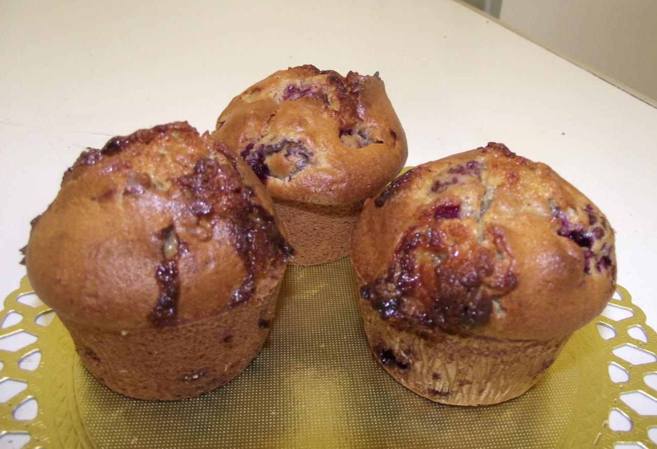 muffins  chocolat blanc-framboise.