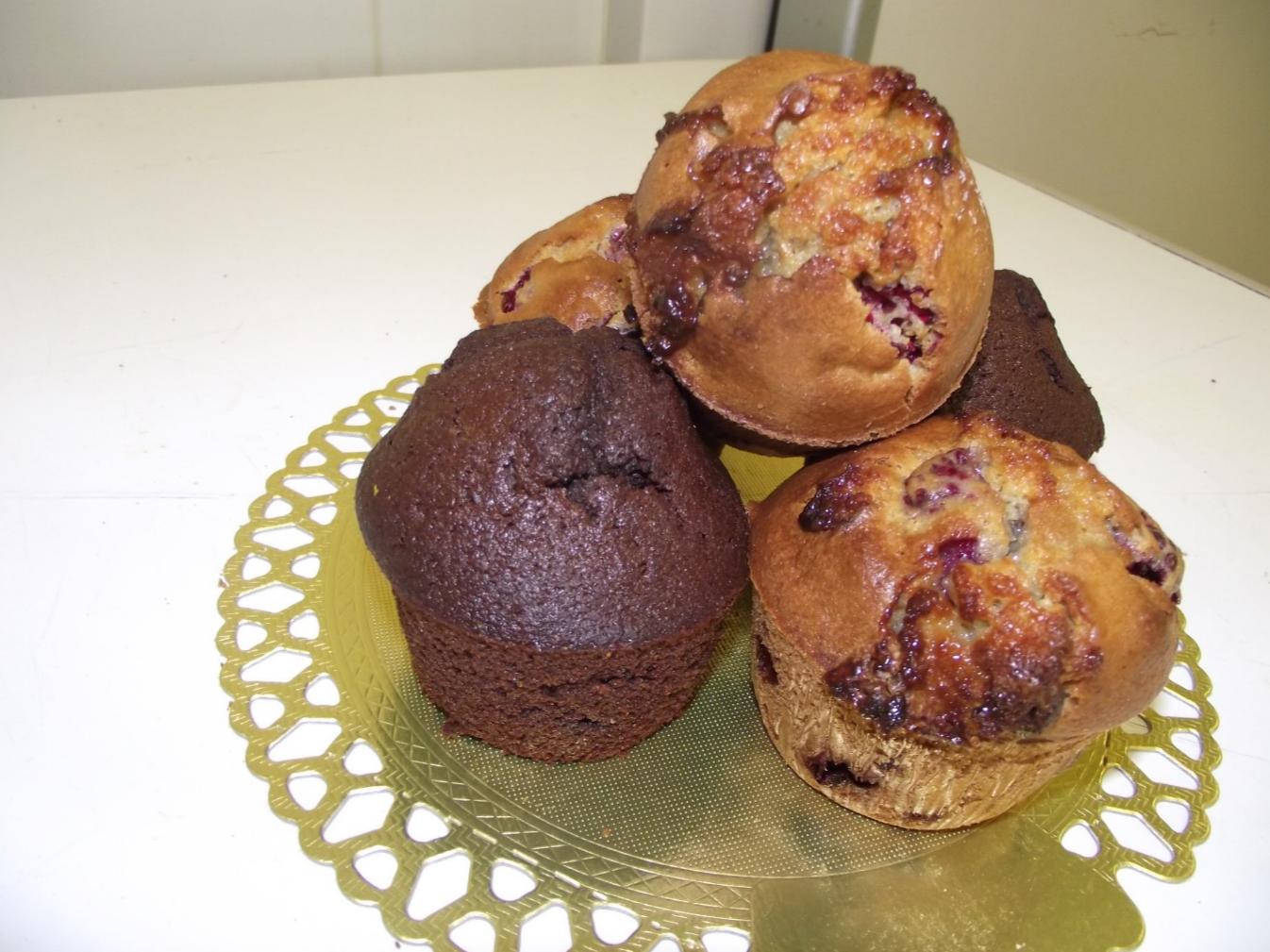 muffins chocolat noir et chocolat blanc-framboise