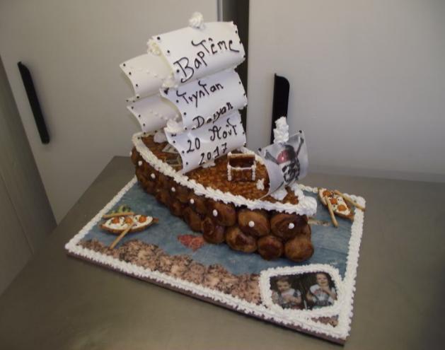 pièce montée choux et nougatine en bateau pirate