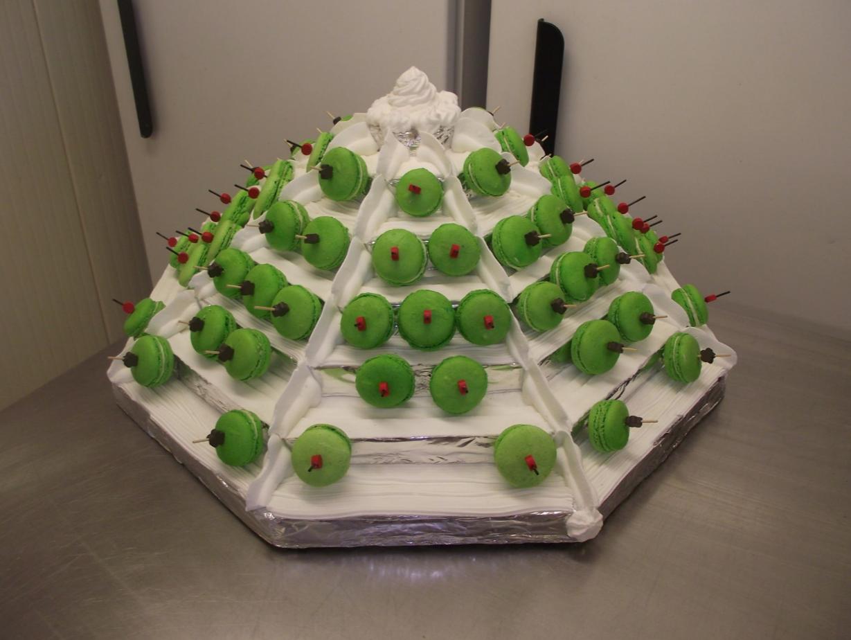 pyramide de macarons à la pistache