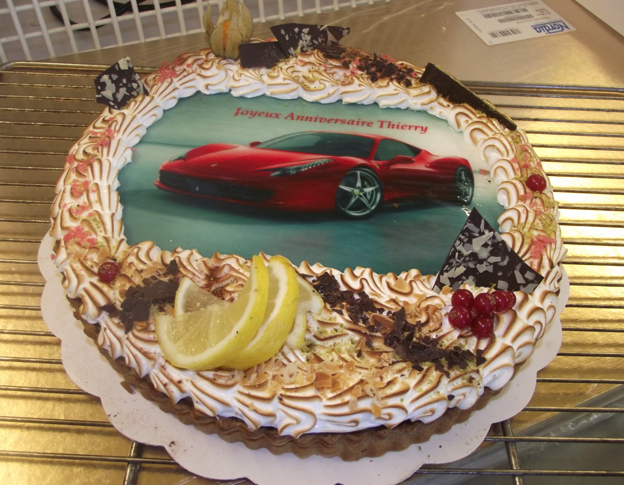 tarte citron meringuée 10-12 parts avec photo de Ferrari
